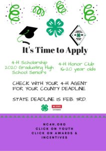 Cover photo for NC 4-H Scholarships & Honor Club Applications Are Posted!