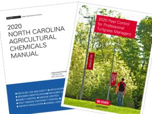 Covers of two NC State Extension publications displayed side by side, including the 2020 North Carolina Agricultural Chemicals Manual and 2020 Pest Control for Professional Turfgrass Managers