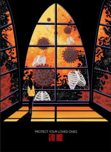 A girl is standing by a window. Outside the window is the Coronavirus and rib cage skeletons.