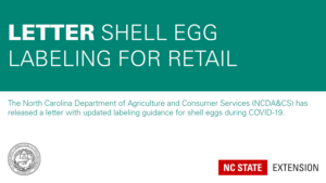 teal and white graphic announcing the NCDA&CS letter on shell egg labeling