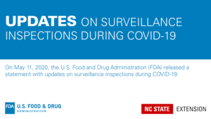 graphic with text Updates on Surveillance inspections during COVID-19 with FDA and NC State Extenion logos