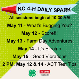 Cover photo for NC 4-H Daily SPARK:  May 11-15, 2020