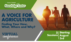 promotional flyer with text A Voice for Agriculture: Finding Your How, What, Where and Why?