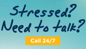 "Hope4NC Helpline graphic that reads, ""Stressed? Need to talk? Call 24/7."""