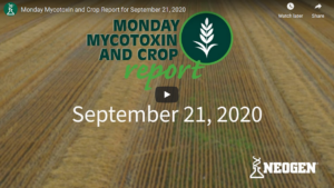 Title screen for September 21, 2020 Monday Mytoxin and Crop Report video