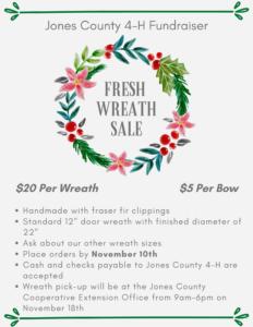 Cover photo for Jones County 4-H Fresh Wreath Fundraiser