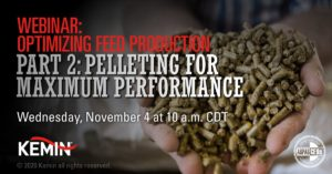 Webinar announcement with text Webinar: Optimizing Feed Production Part 2: Pelleting for Maximum Performance