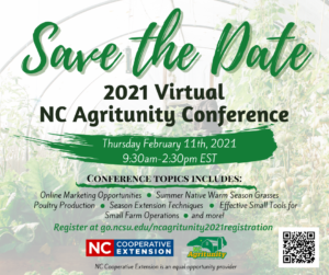 Save the Date, 2021 Virtual NC Agritunity Conference