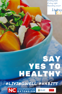 Say Yes to Healthy foods photo with bowl of fruits