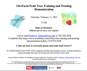 Cover photo for Rescheduled  On-Farm Fruit Tree Pruning and Training Demonstration