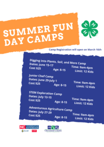 Cover photo for 2021 4-H Summer Fun Day Camps