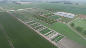 An aerial photo showing vast farm field plots.