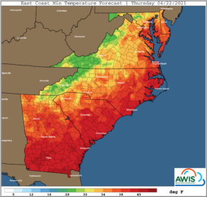 Cover photo for AWIS Weather Forecast: Frost Risk April 22-23