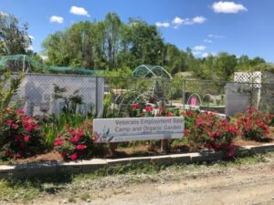 Entrance sign to Veterans Employment Base Camp and Organic Garden