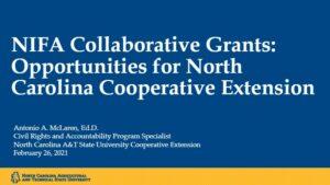 USDA-NIFA and Land Grant University Collaboration opening slide