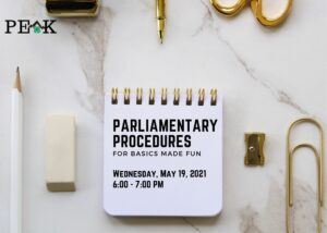 Cover photo for 4-H PEAK Event: The Basics of Parliamentary Procedure  - 5/19/21