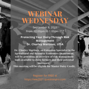 Cover photo for Risk Management for Dairies Webinar This Wednesday