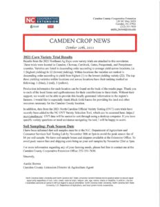 Cover photo for Camden Crop News:  October 20, 2021